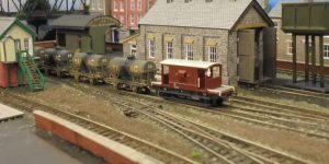 Tarmac tank cars and NE region brake van at Figgton